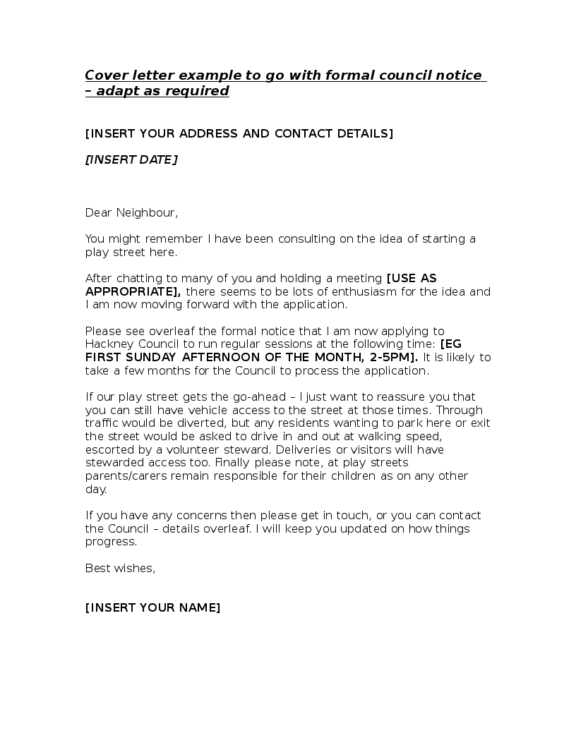 Cover Letter To Formal Council Notice